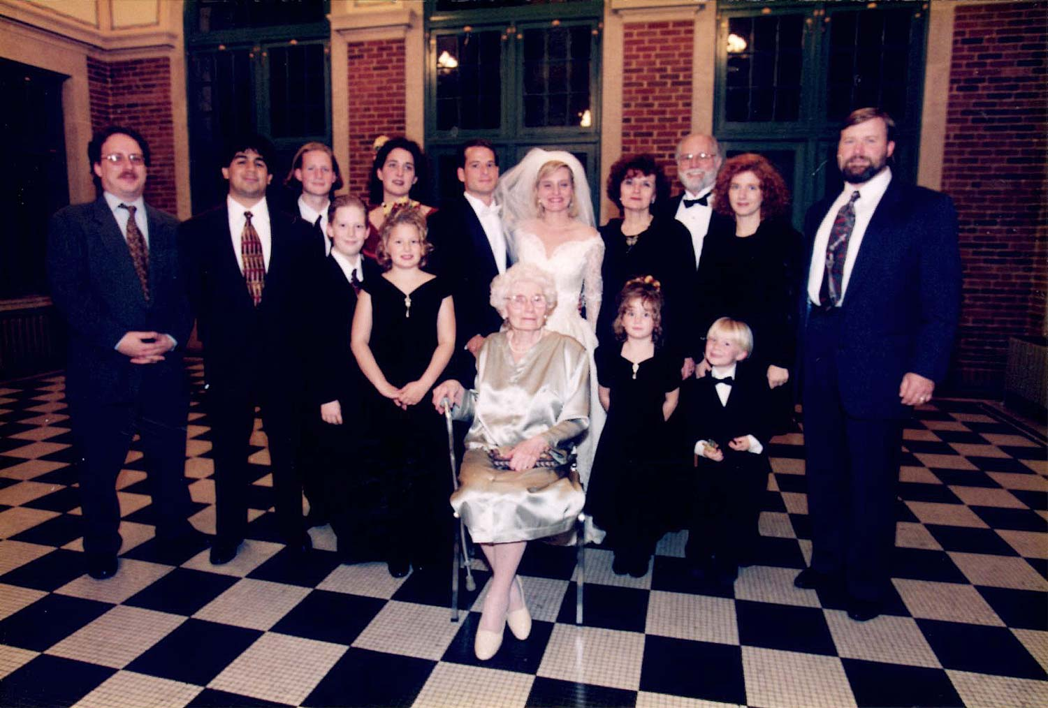 In this family photograph from my wedding, my grandmother, Piri Neumann, is seated in the front, 1996.