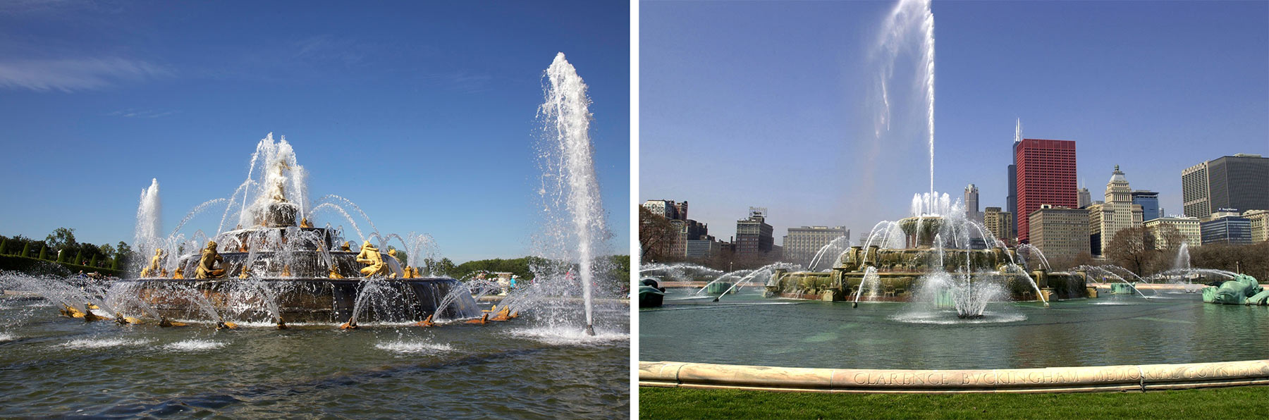Left: Latona Basin, Gardens of Versailles, Courtesy of Wikimedia. Right: Clarence Buckingham Memorial Fountain, Photo by Julia Bachrach.