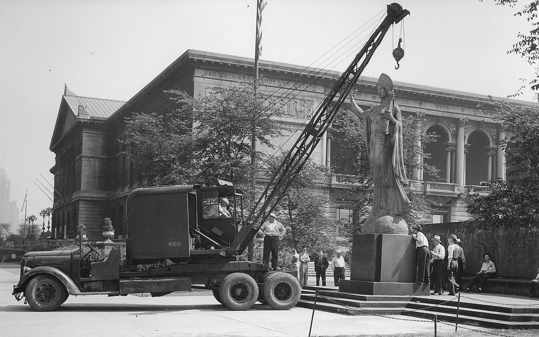 The Spirit of Music  , originally installed near the Art Institute of Chicago's South Garden in 1923, was moved for the first time in the early 1940s. Chicago Park District Records: Photographs, Special Collections, Chicago Public Library.