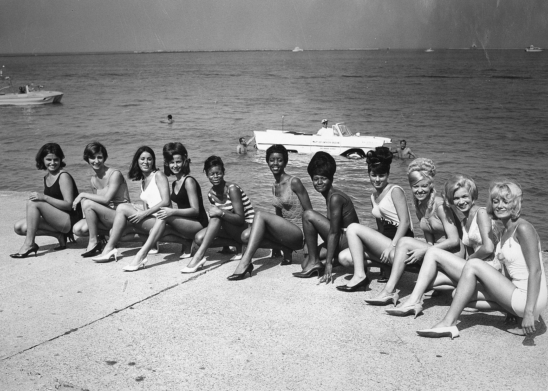 """Miss Mermaid"" Contestants at Chicago's Air and Water Show, 1965. Chicago Park District Records: Photographs, Special Collections, Chicago Public Library."