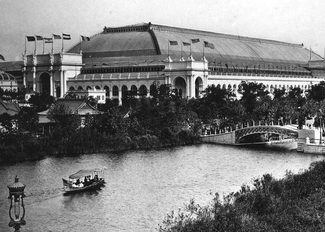 Electric launch boat near Wooded Island at World's Columbian Exposition, 1893. C.D. Arnold, photographer.