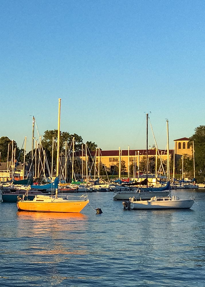 View of Outer Harbor looking towards Jackson Park Yacht Club. Photo by Eric Allix Rogers.