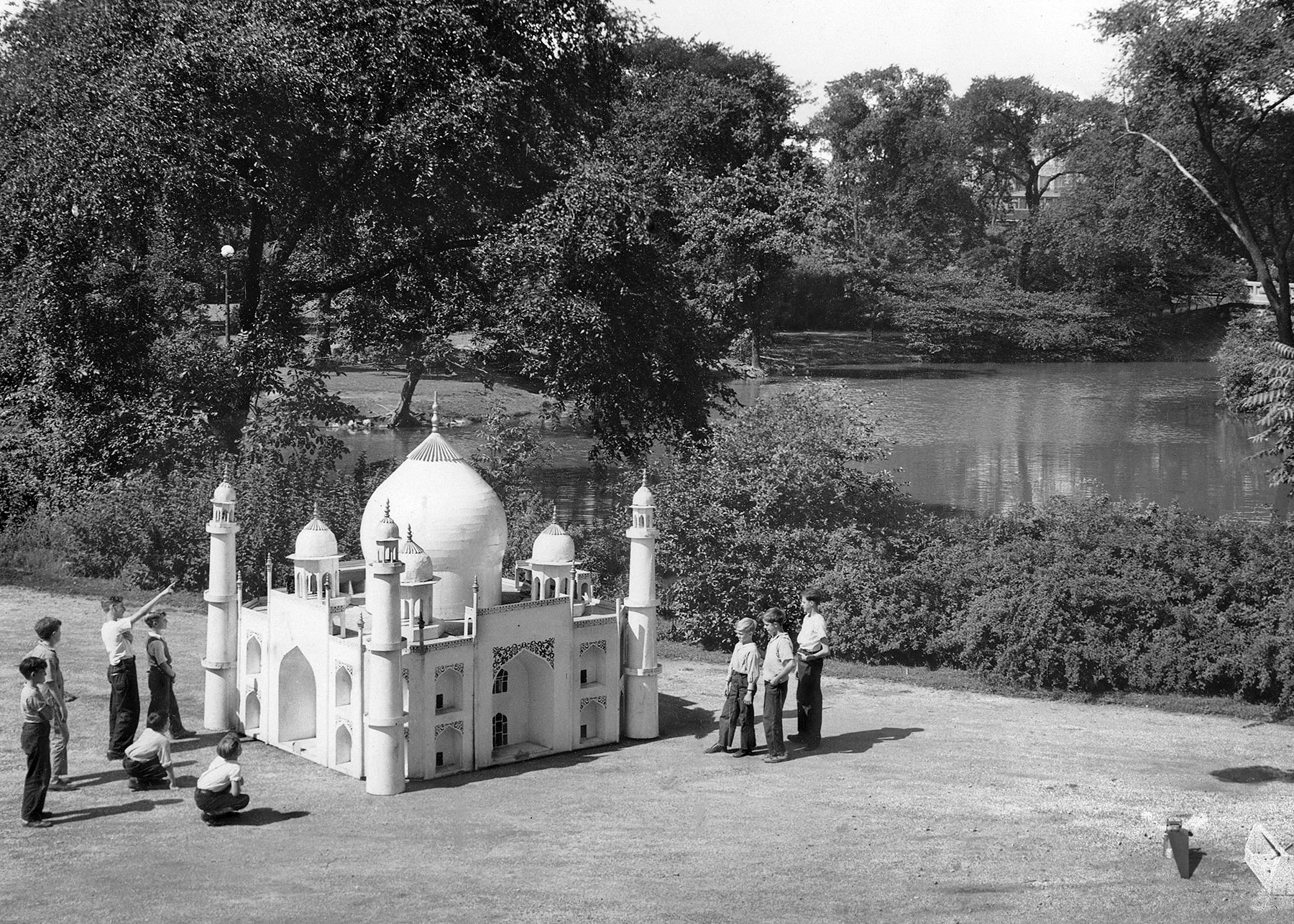 """Taj Mahal"" Water Float in Garfield Park, ca. 1938. Chicago Park District Records: Photographs, Special Collections, Chicago Public Library."