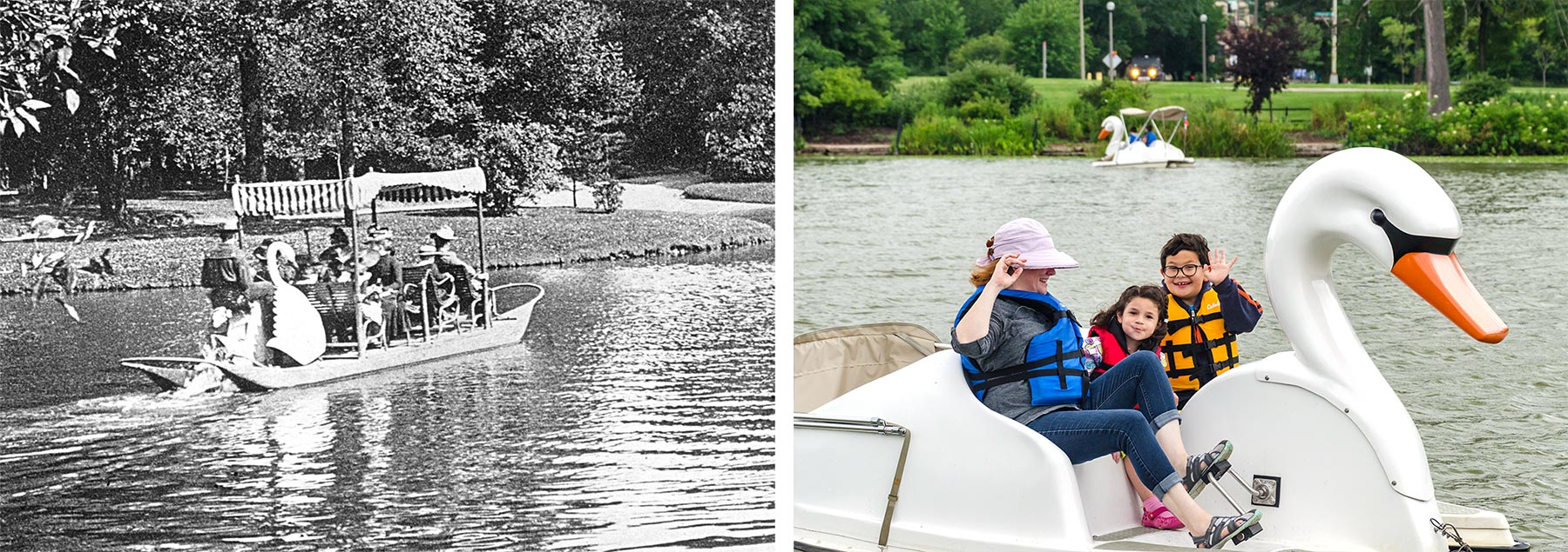 Left:Swan boat in Lincoln Park, ca. 1890. Chicago Park District Records: Photographs, Special Collections, Chicago Public Library.Right: Swan shaped paddle boats are now available in Humboldt Park. Photo by Eric Allix Rogers.
