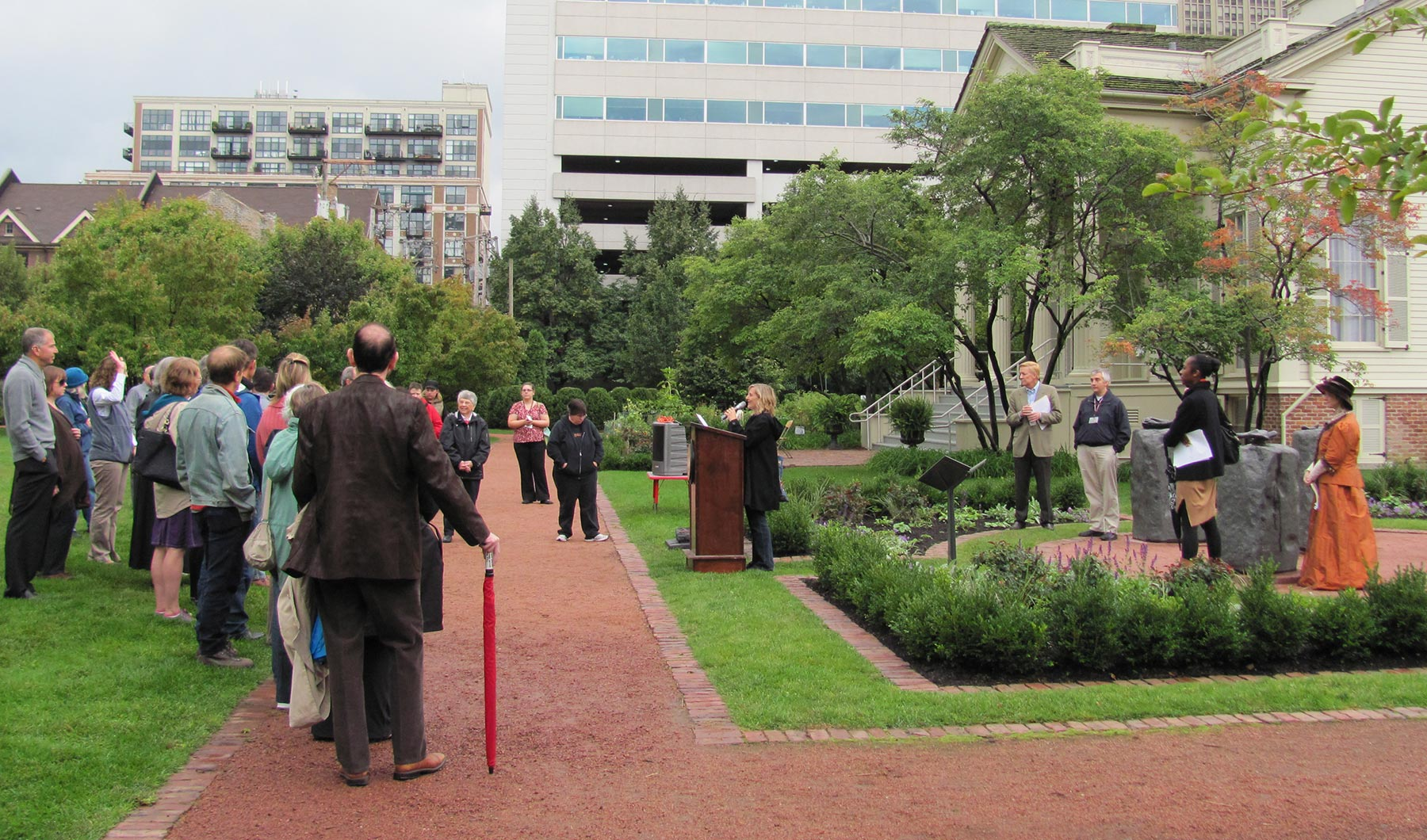 Rededication of Jane Addams Monument near Widow Clarke House in Chicago Women's Park and Gardens, 2011.