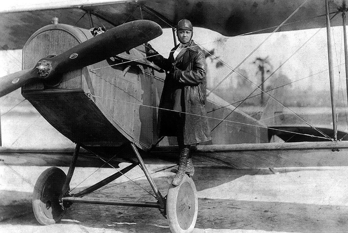 Bessie Coleman worked as a manicurist on Chicago's South Side before she became the nation's first female African American pilot. Wikicommons photo, 1922.