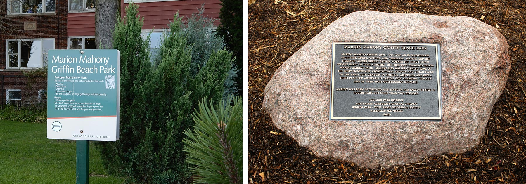 Left:Marion Mahony Griffin Park was dedicated in 2015 after several earlier failed attempts to name a park for her. Right:Boulder in Marion Mahony Griffin Park. Photo by Julia Bachrach.