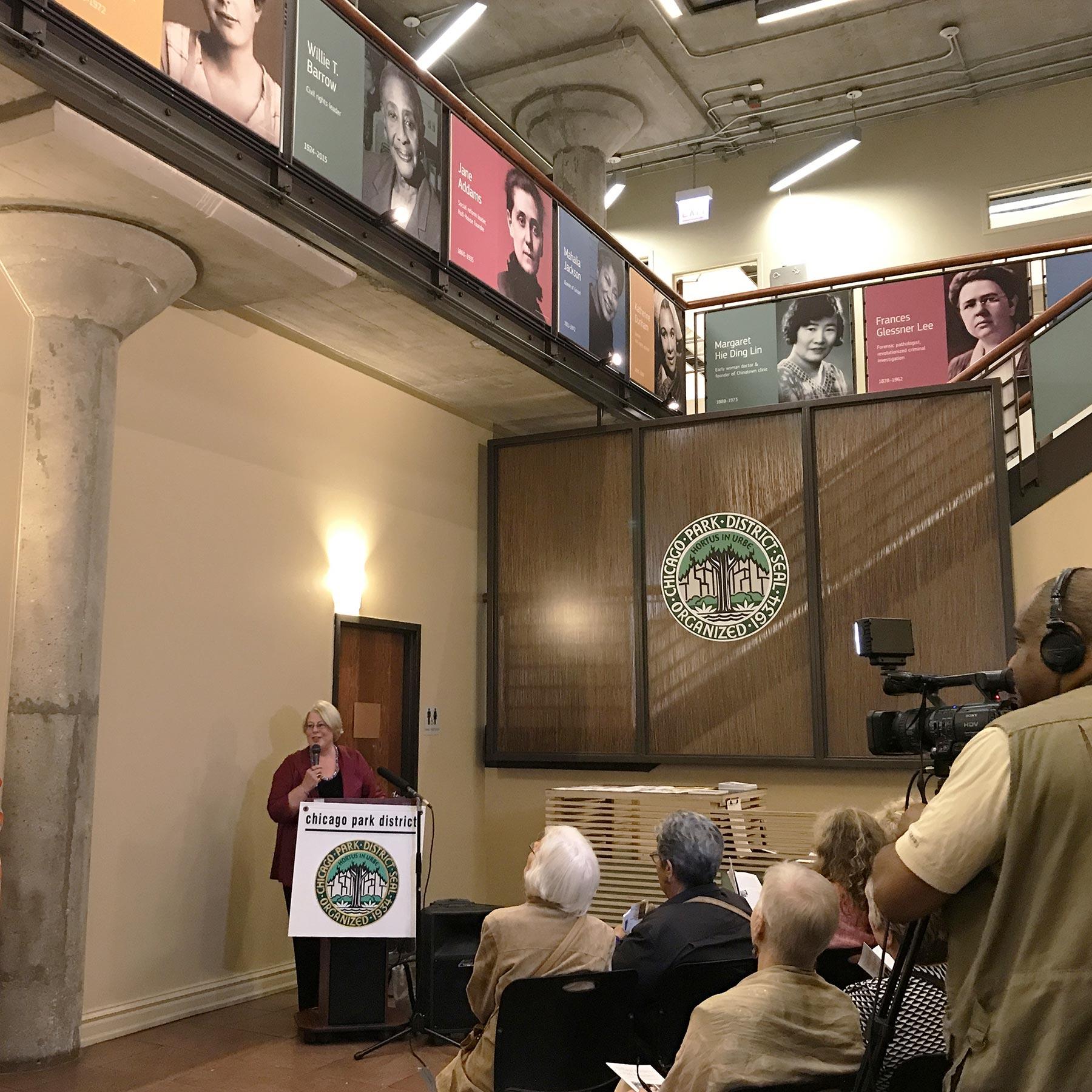 Leslie Recht at Exhibit Dedication in Chicago Women's Park and Gardens, September 14, 2017.