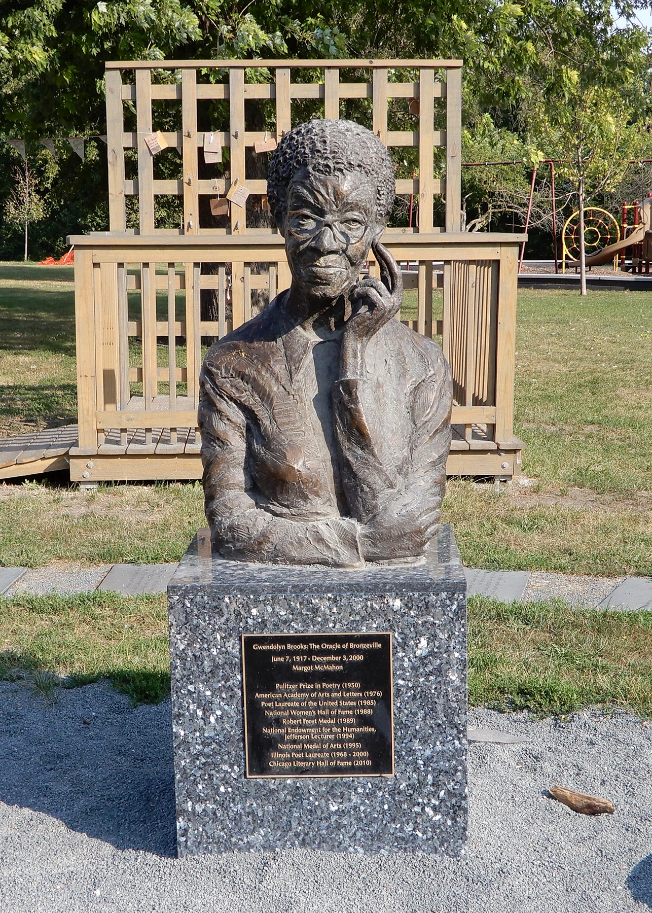 Gwendolyn Brooks Monument in her eponymous park. Photo by Julia Bachrach.