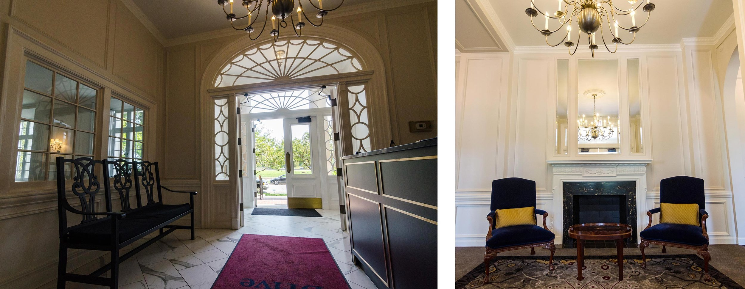 Left: View of interior doorway with fanlight window and sidelights. Right: Foyer. Photos by Eric Allix Rogers.