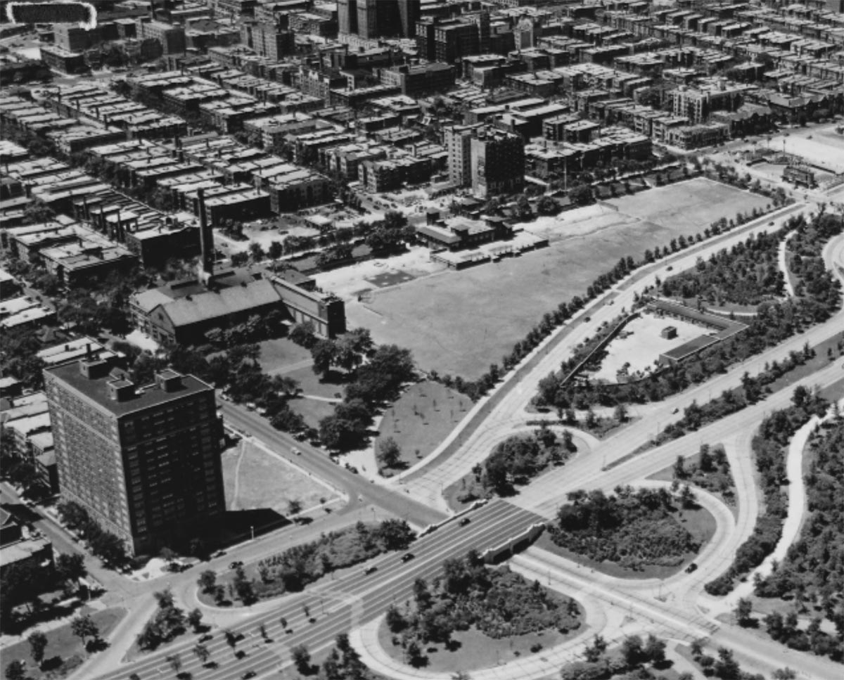 Aerial view showing 4300 N. Marine Drive at lower left, ca. 1940.  Chicago Public Library   Special Collections, Chicago Park District Archives, Photos, 076-012-003