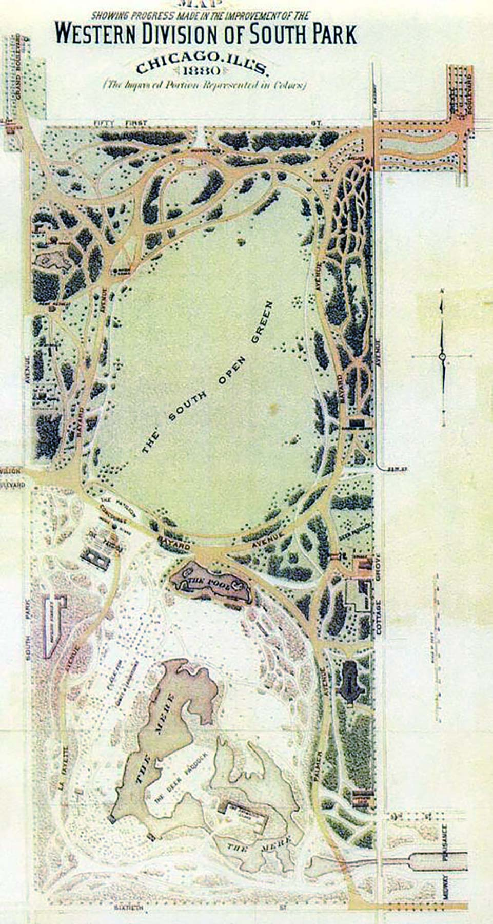 As shown by this plan, the great meadow called the South Open Green was the earliest parts of Washington Park's landscape to be completed.  The Western Division of South Park,  1880.