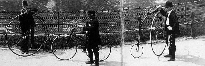 This 1880s photograph of cyclists in Lincoln Park was published in an  Annual Report of the Chicago Park District , 1976.