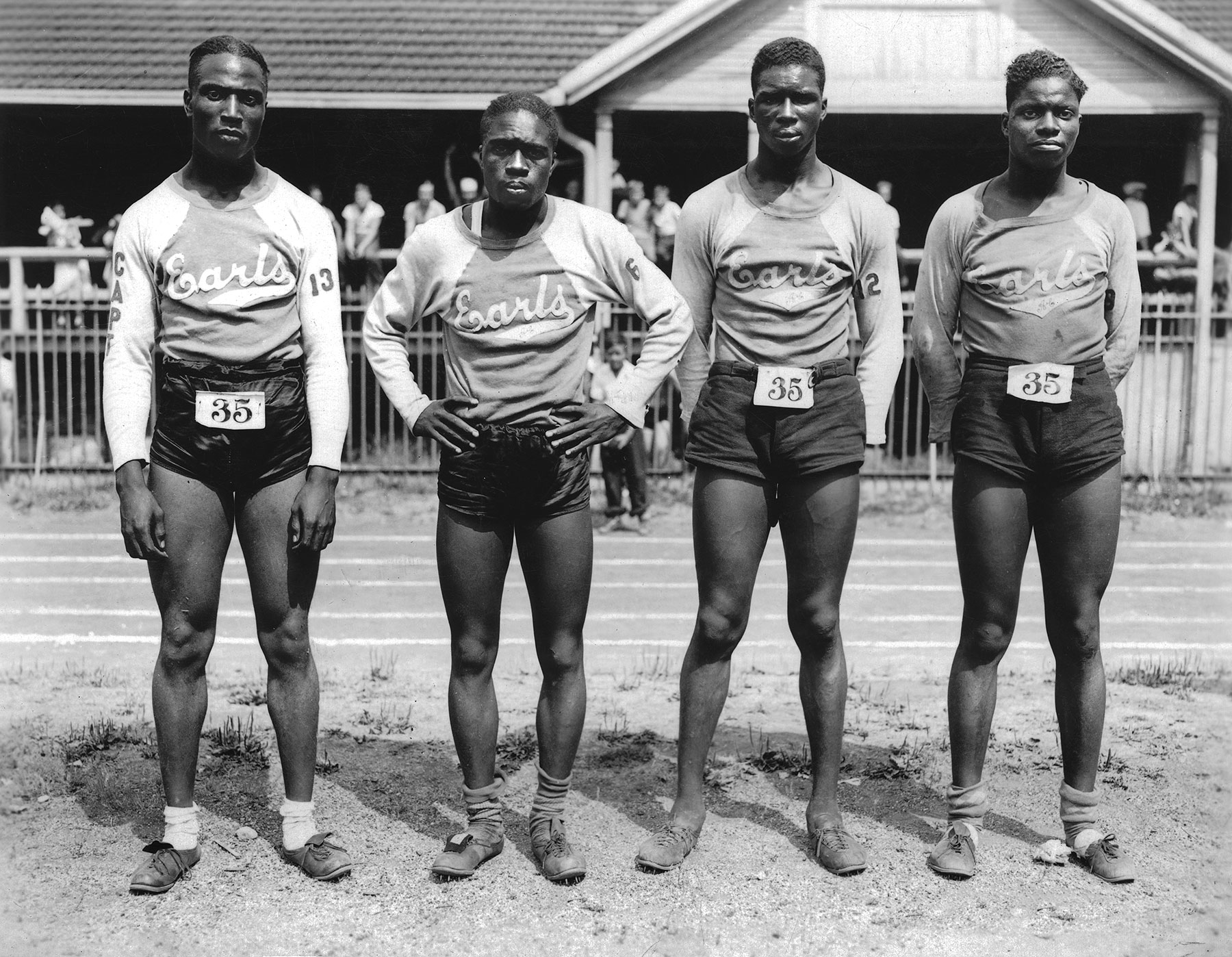 Numerous athletes used the Douglas Park Natatorium and its oval track including the Earls, an African-American track team of late 1930s.  Chicago Public Library Special Collections, Chicago Park District Archives, Photos .