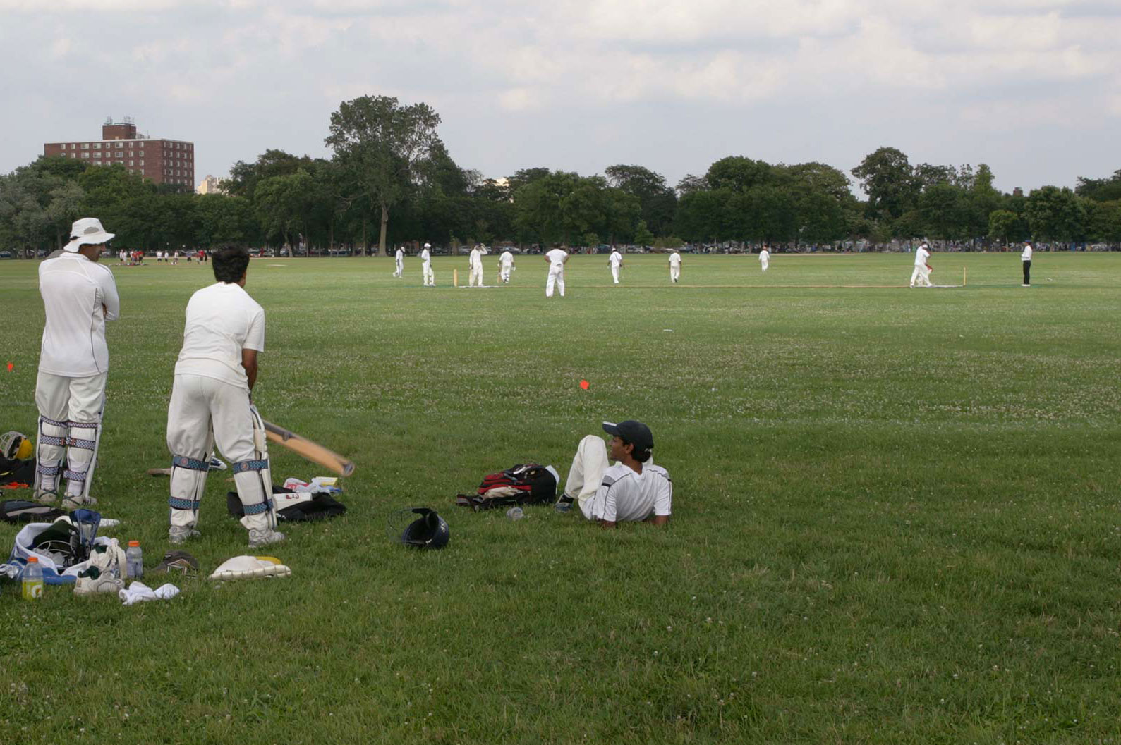 Chicagoans have played cricket, baseball, and football on Washington Park's pastoral meadow, known as the South Open Green, for well over 100 years. Photo by Lucas Blair, 2009.