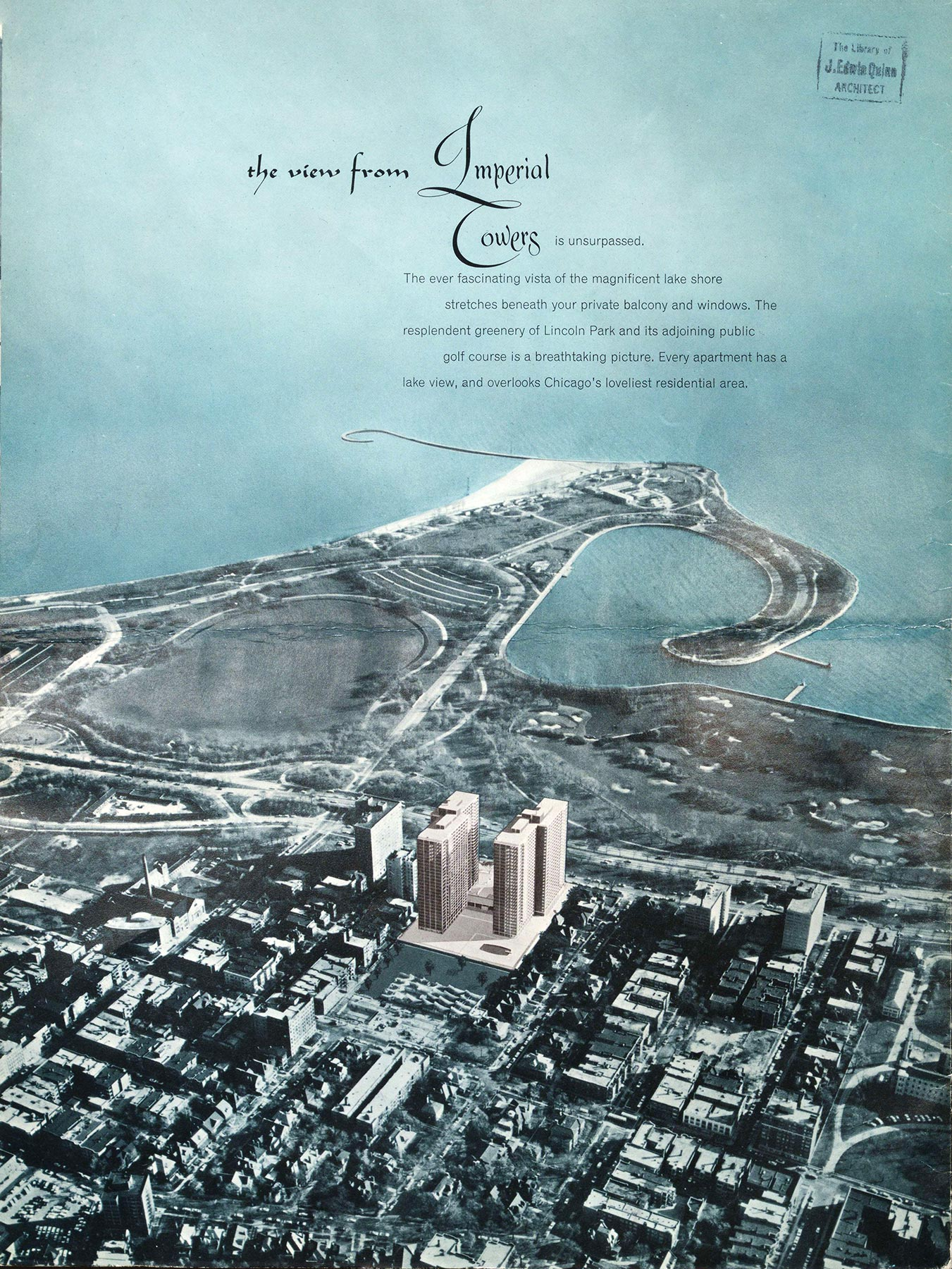 Imperial Towers: A World Apart,  marketing pamphlet produced by Powell, Schoenbrod and Hall. McNally and Quinn Records, Art Institute of Chicago, Ryerson & Burnham Archives, Series 1, OP 1.17, ca. 1961.