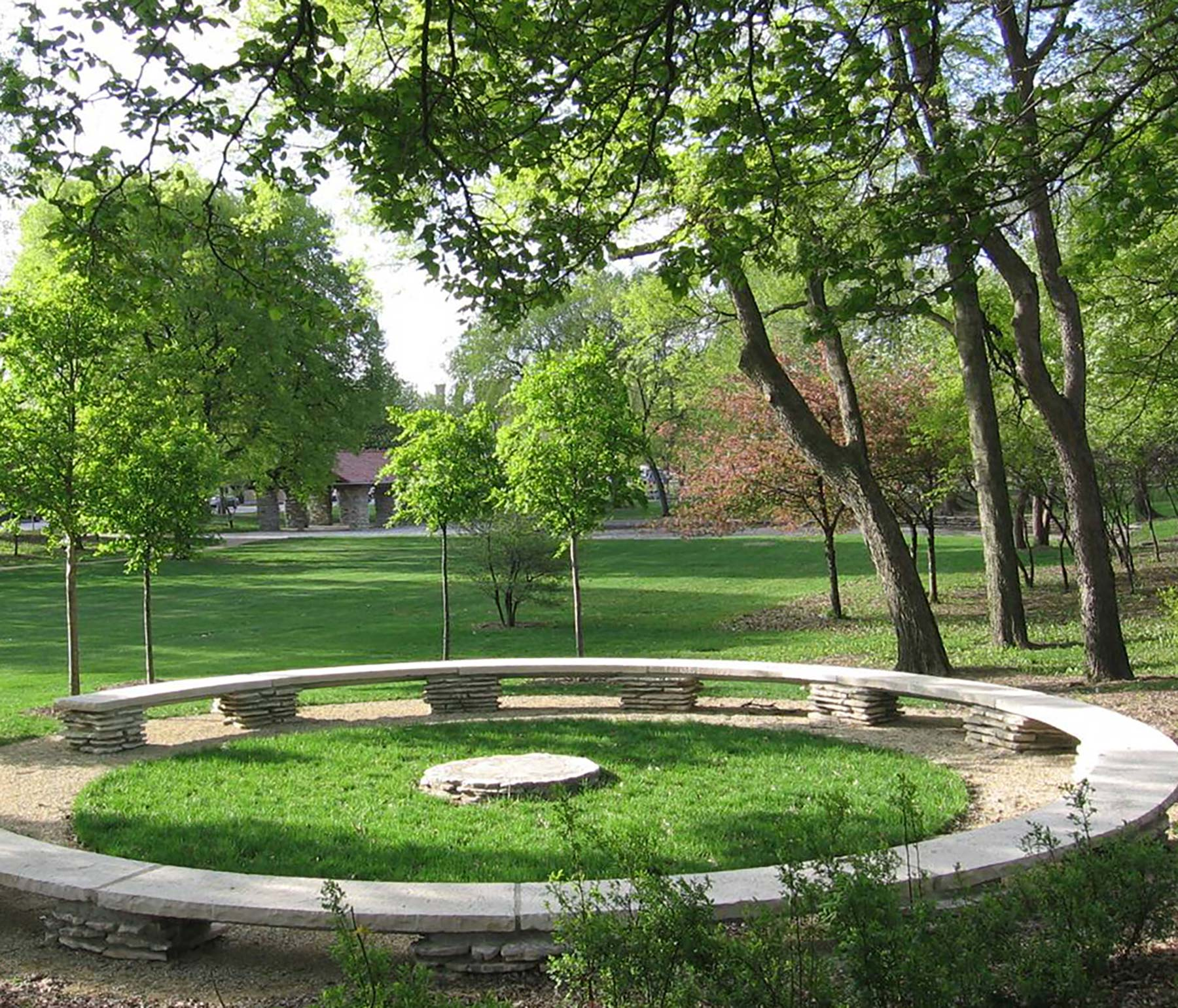 Jens Jensen-designed council ring and surrounding landscape in Columbus Park. Photo by James Iska.