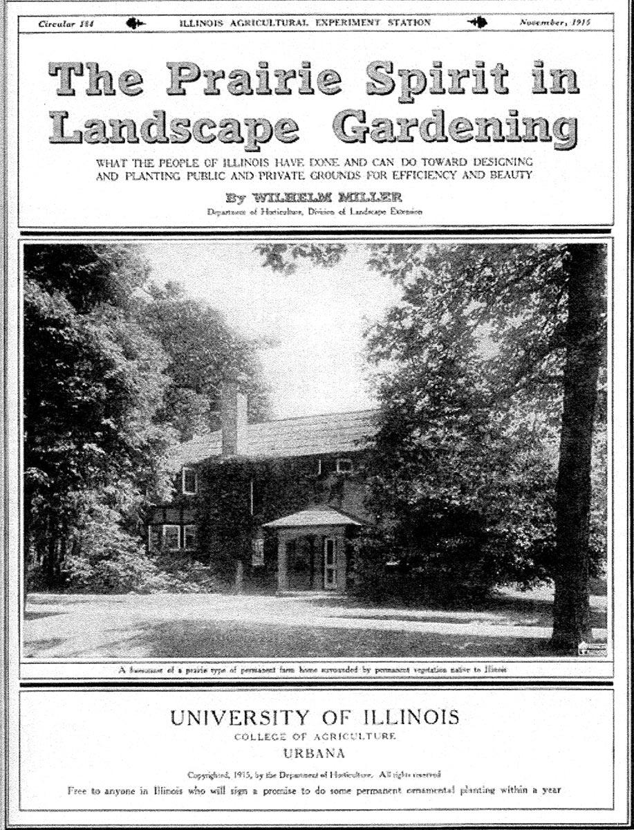 Cover of Wilhelm Miller's 1915 bulletin,  The Prairie Spirit in Landscape Gardening.