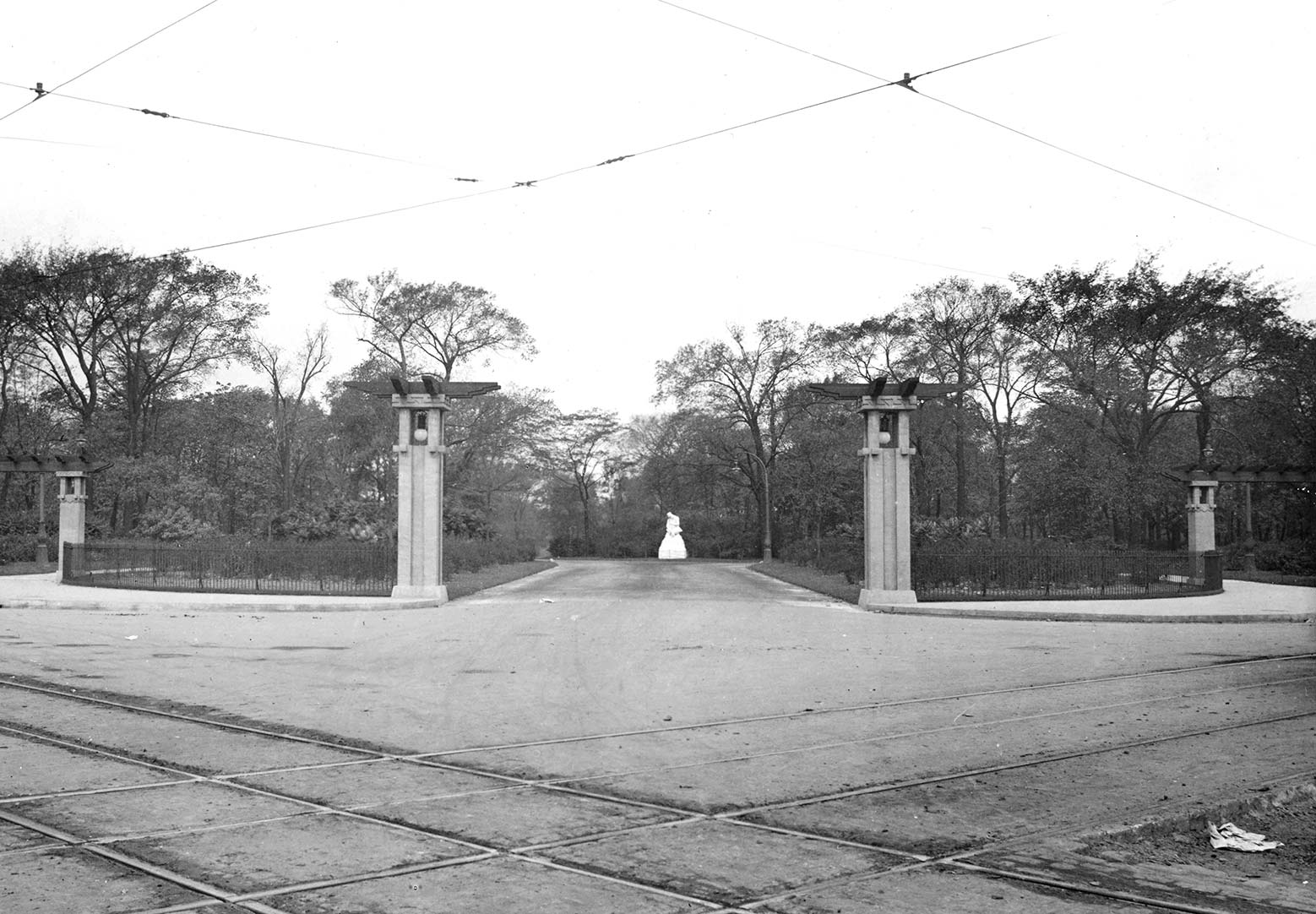Photograph of Jensen's improvements to the corner of Division St. and California Ave. in Humboldt Park, 1912. Chicago Park District Records: Photographs, Special Collections, Chicago Public Library.