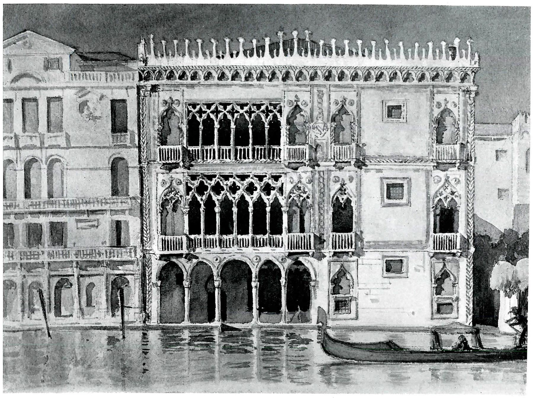 """Ca' d'Oro Venice,"" Elizabeth Kimball Nedved's watercolor of the famous Palazzo Santa Sofia was published in  Pencil Points,  Vol. VIII, No. 4, April 1927."