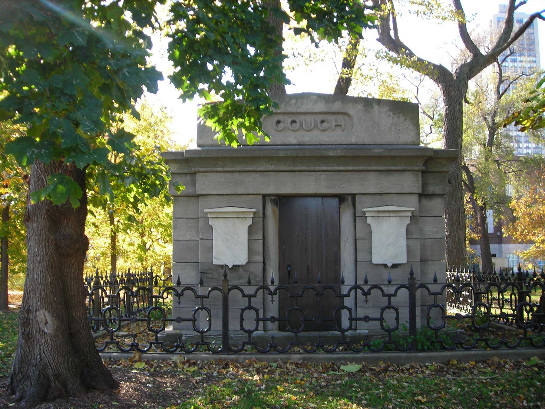 The Couch Tomb is one of the few above-ground reminders of Lincoln Park's beginnings as a cemetery. Photo by Julia Bachrach.