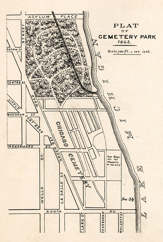 Plat of Cemetery Park, 1863, from  Report of the Commissioners and A History of Lincoln Park,  1899, by I.J. Bryan.