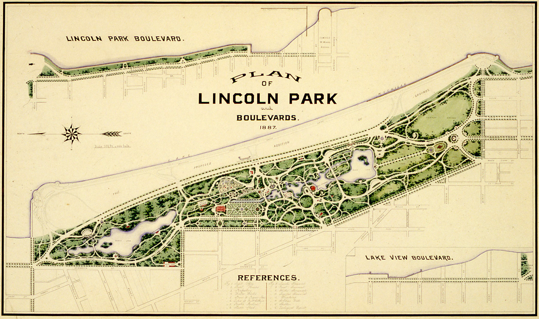 Plan of Lincoln Park and Boulevards, 1887. Chicago Park District Records: Drawings, Special Collections, Chicago Public Library.