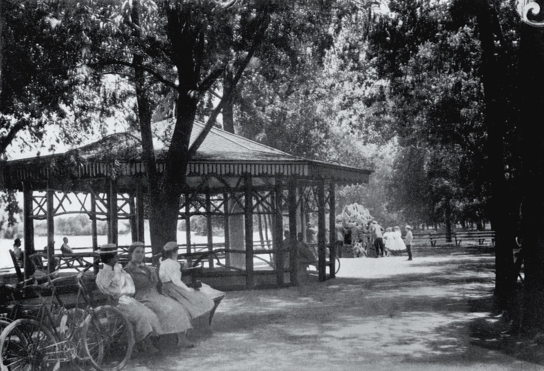 Rustic Pavilion in Lincoln Park, from the  Report of the Commissioners and A History of Lincoln Park,  1899, by I.J. Bryan.