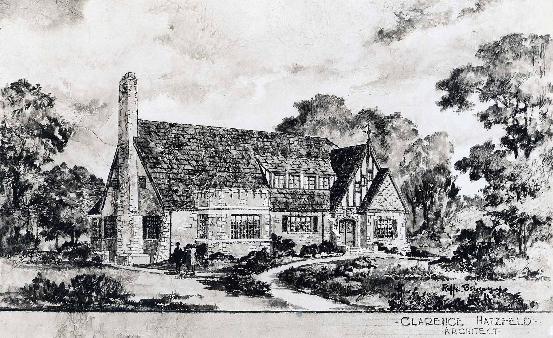 Rendering by Roffe Beman of the Clarence Hatzfeld-designed Indian Boundary Field House, ca. 1930.  Chicago Public Library Special Collections ,  Chicago Park District Archives, Photos .