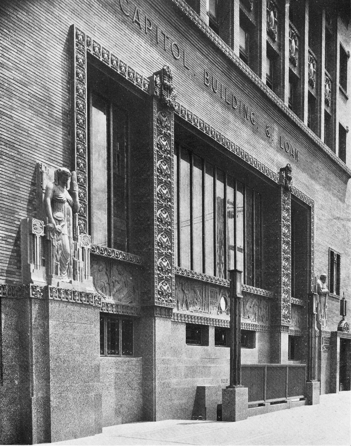 """Detail of Great Window,"" Capitol Building and Loan Association, Topeka, Kansas (demolished, 1968). From  Western Architect, 1924."