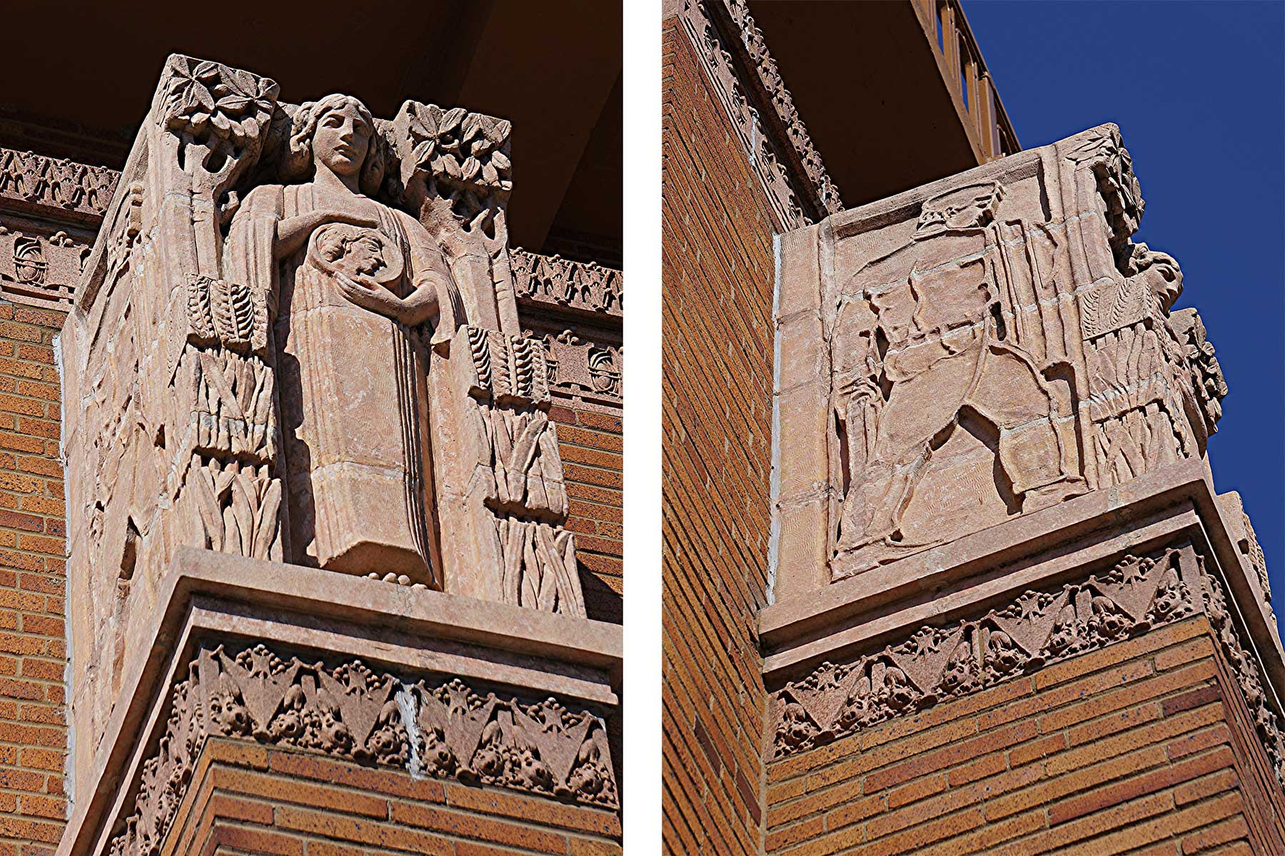 Close-up views of Emil Zettler's capitals for Old Second National Bank, Aurora, Illinois. Photos by Earl R. Shumaker.
