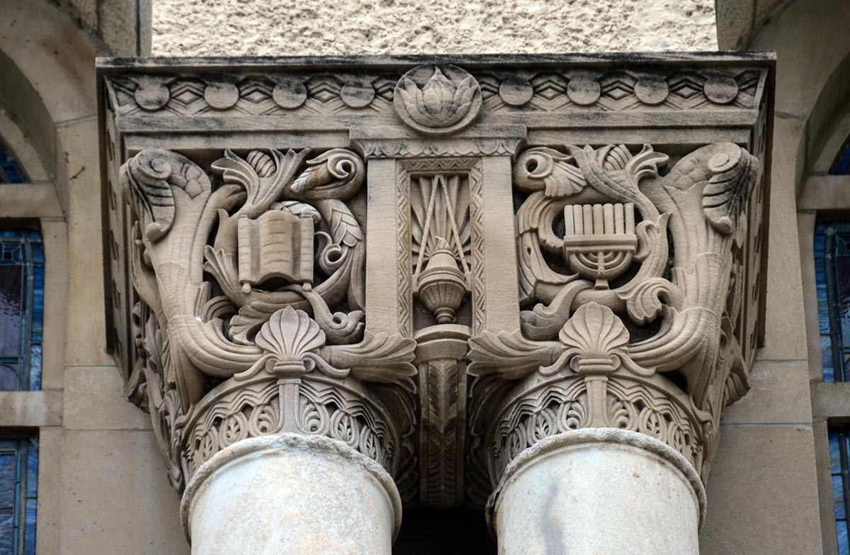 Temple Sholom Capitals. Photo by Eric Allix Rogers.