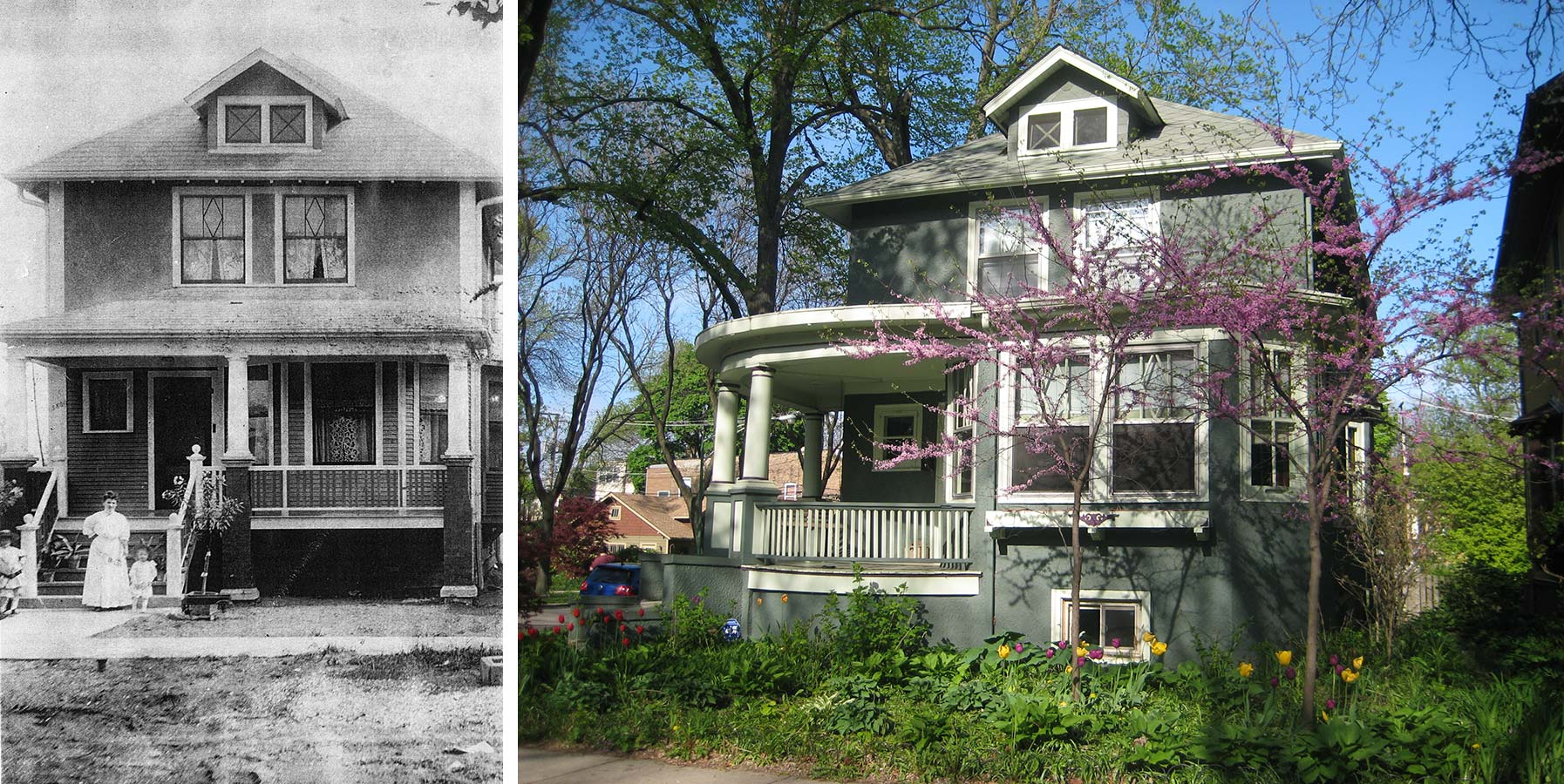 Left: Rozek House with its original front soon after its 1908 completion. Right: Rozek House with Norman's front addition. Photo by Julia Bachrach.