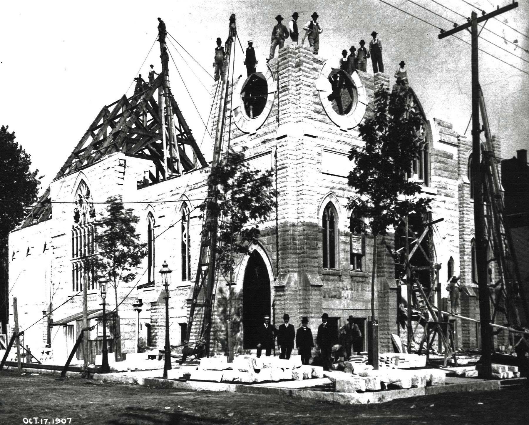 Ebenezer Swedish Lutheran Church during construction, 1907. Photograph courtesy of Chris Kale Corcoran.