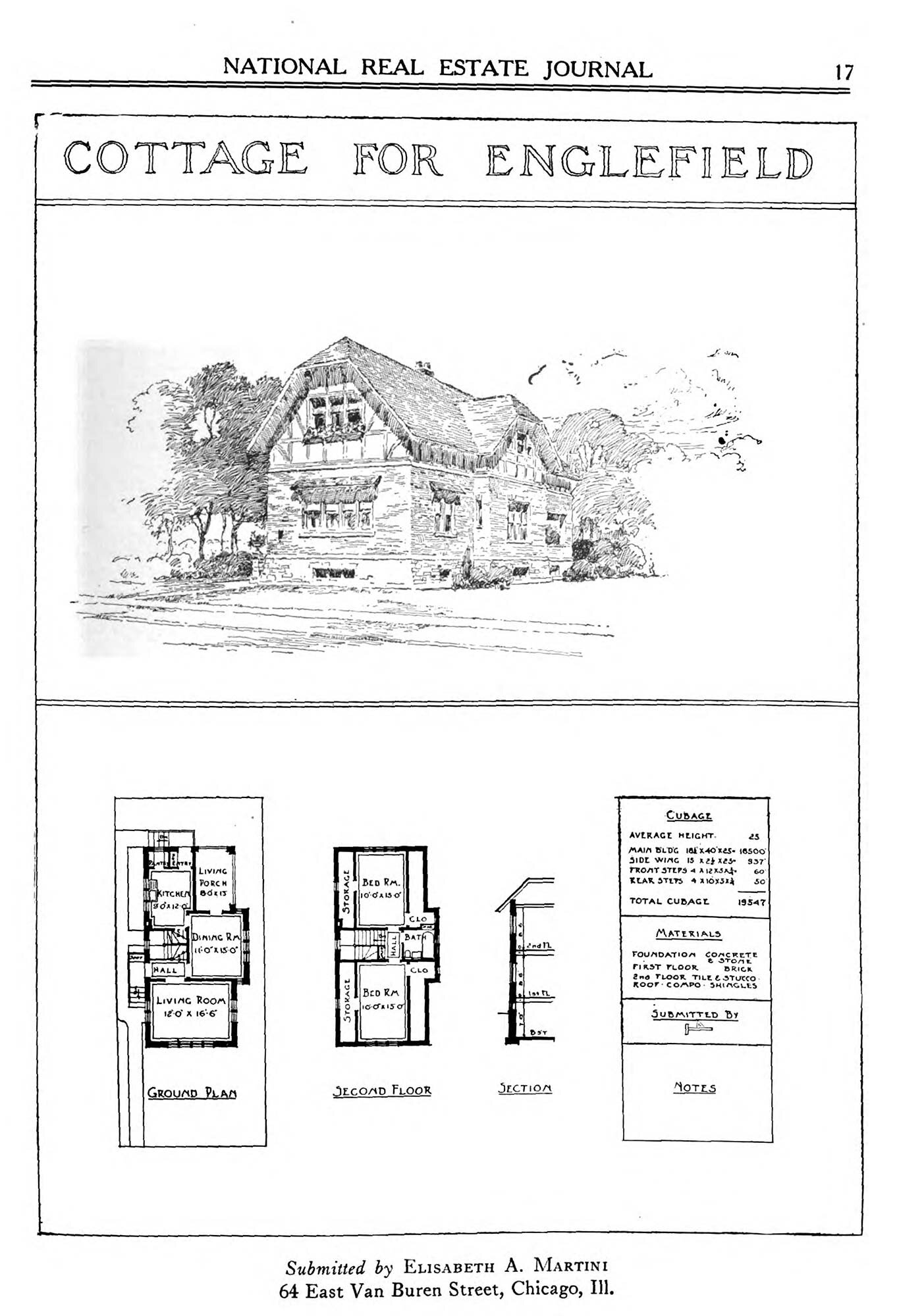 Martini's Plan for a Cottage in Englefield,  National Real Estate Journal , 1917, p. 17.