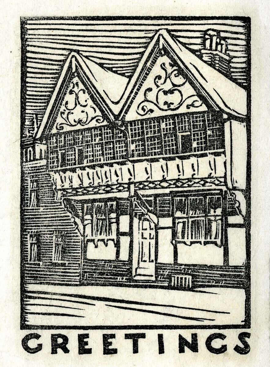 Christmas print depicting timber frame European home by Juliette Peddle, undated. Ball State University, Juliette Peddle Architectural Drawings.