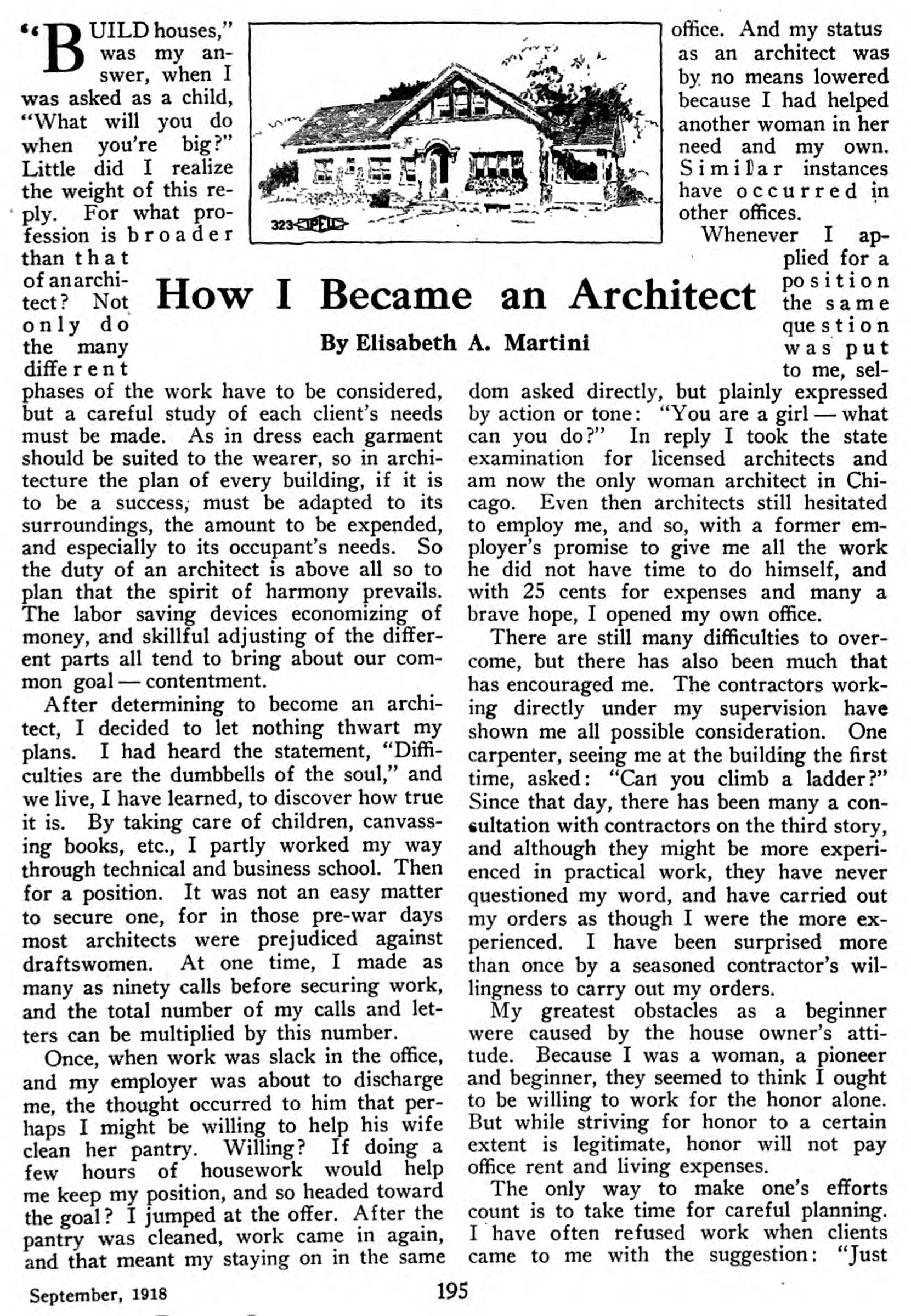 """""""How I Became and Architect,"""" by Elisabeth A. Martini,  Life and Labor , Volume 8, 1918."""