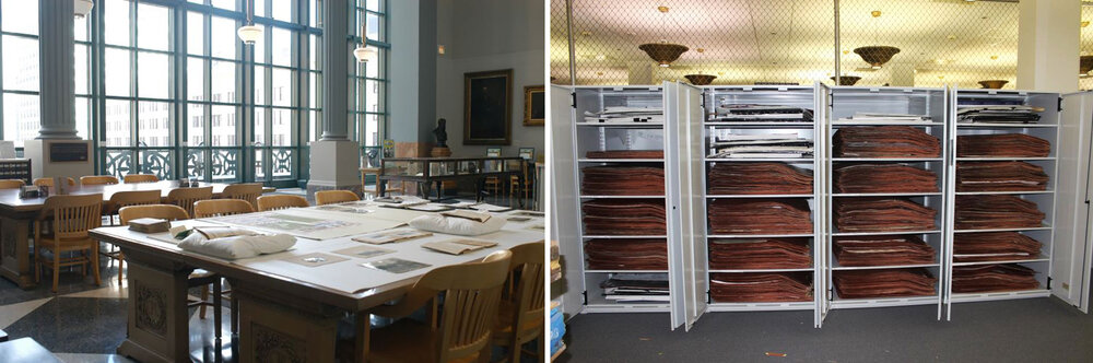 Left: Chicago Public Library's Special Collections Reading Room. Right: One of the many storage cabinets that house the Chicago Park District collection behind the scenes at Harold Washington Library. Photos courtesy of Chicago Public Library.