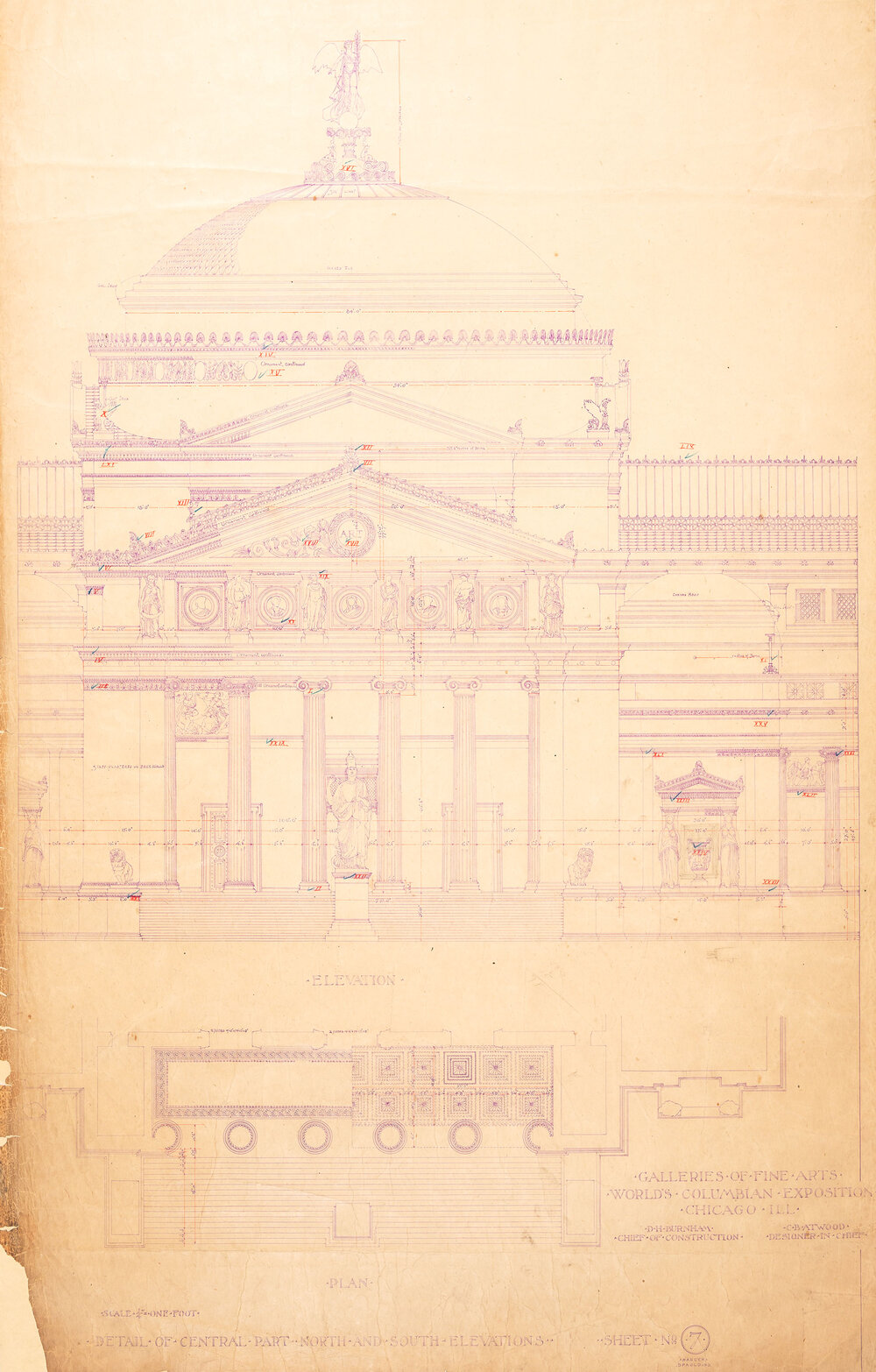 Galleries of Fine Arts, World's Columbian Exposition: Sheet, No. 7, Detail of central part north and south elevations, Daniel H. Burnham, Charles B. Atwood, 1891.  Chicago Public Library, Chicago Park District Archive, Drawing CPD409N.
