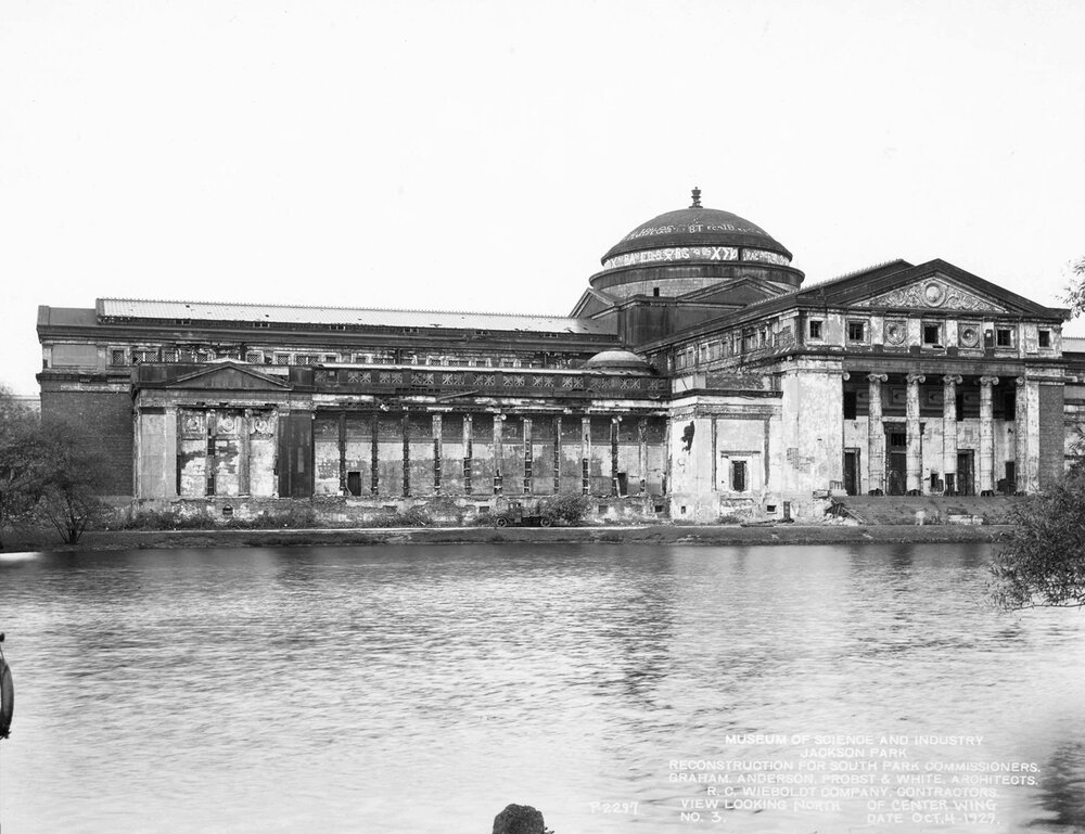 Fine Arts Pavilion in disrepair, 1929, Chicago Park District Records: Special Collections, Chicago Public Library, Photograph 046_029_002.
