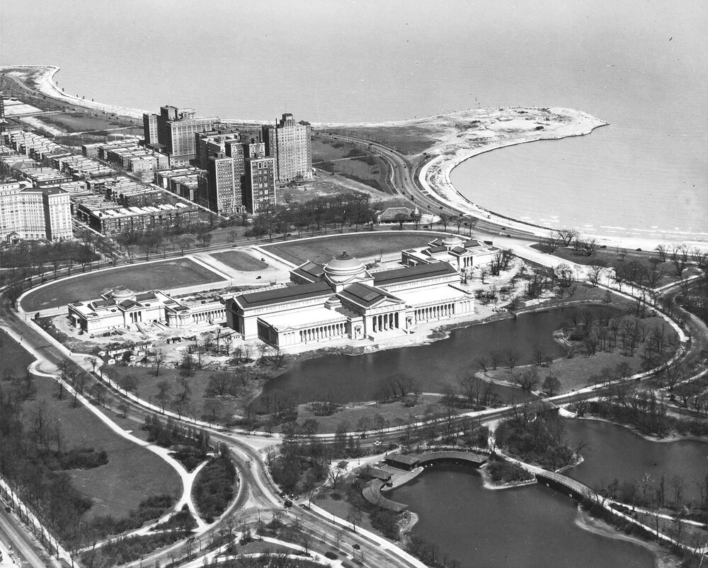Aerial view of completed Museum of Science and Industry, ca. 1933.  Chicago Park District Records: Special Collections, Chicago Public Library, Photograph.