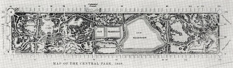 """Map of Central Park 1868, from Reprinting of the """"Greensward Report,"""" Courtesy of the National Park Service, Frederick Law Olmsted National Historic Site."""