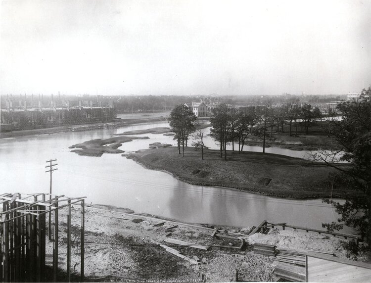 Jackson Park, View northwest from tower of Fire Engine House (during World's Fair construction), October 1891. Chicago Public Library, Special Collections, WCE CDA 1.17. Photograph by C.D. Arnold.