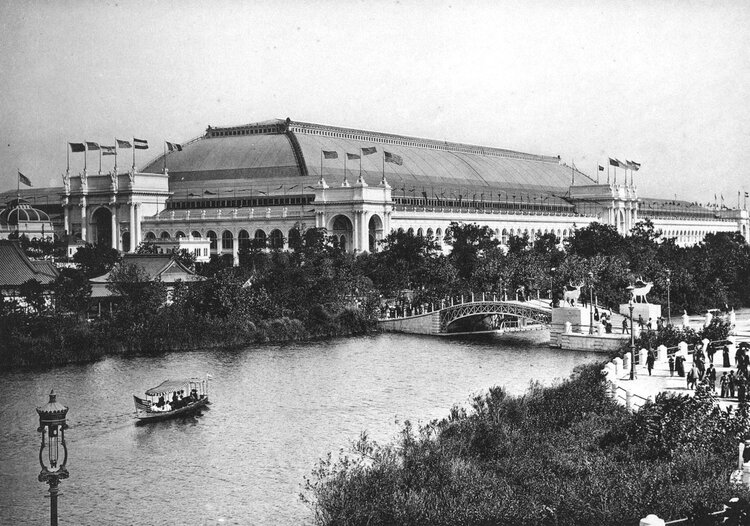 East Lagoon with boats during World's Columbian Exposition, Photograph by C.D. Arnold.