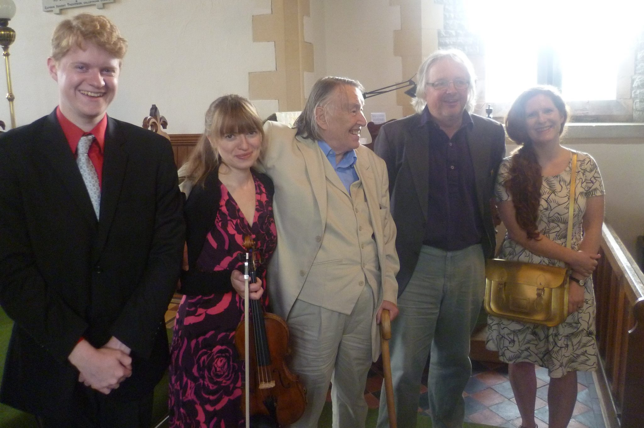 Michael with other composers at Presteigne - L to R: BBC Music Magazine Award Winner Fenella Humphreys, Gordon Crosse, Piers Hellawell, and Cheryl Frances-Hoad.