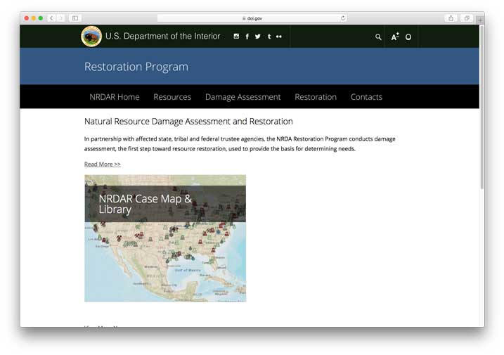Natural Resource Damage Assessment and Restoration Programs, U.S. Department of the Interior