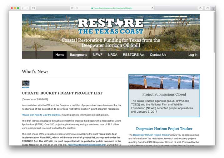 Restore the Texas Coast, Texas Commission on Environmental Quality