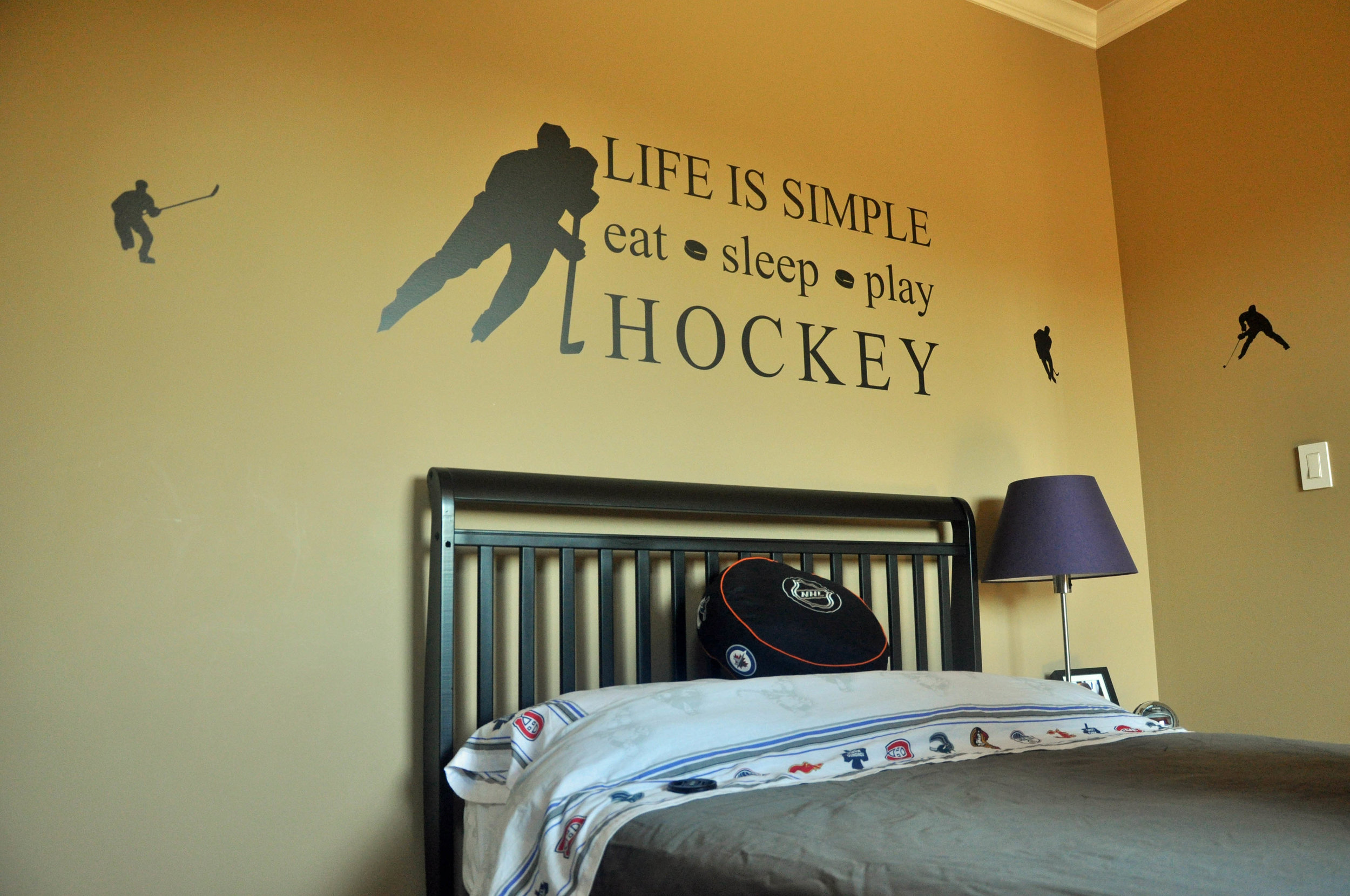 Life is Simple Play Hockey Wall Decal Quote