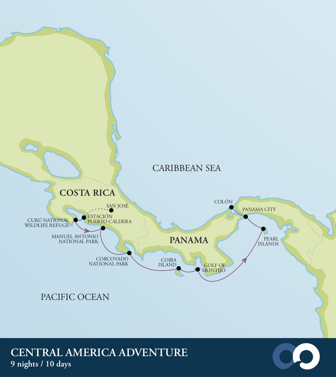 Costa Rica to Panama route