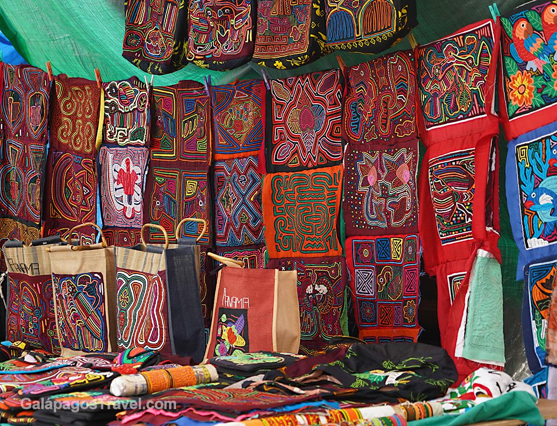 traditional Kuna Molas in the artisan market, Panama City